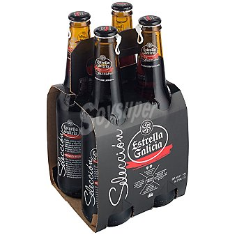 Estrella Galicia Cerveza negra Selección pack 4 botellas 33 cl
