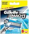 Turbo recambio de maquinilla de afeitar Estuche 8 unidades Gillette Mach3