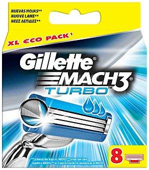 Gillette Turbo recambio de maquinilla de afeitar  Estuche 8 unidades