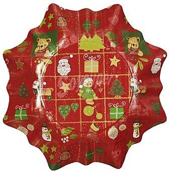 PAP STAR plato Estrella decorado Navidad 25 cm  paquete 2 unidades