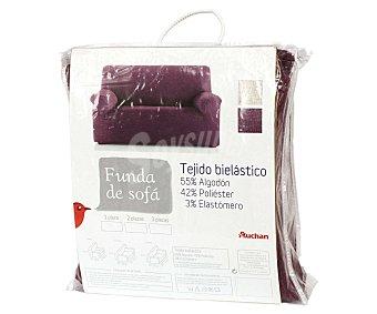 Auchan Funda elástica de chenilla para sofá de 3 Plazas, modelo caribe, color morado 1 Unidad