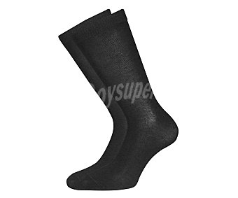 BAMBÚ Pack de 2 pares de calcetines de fibra de bambú color negro, talla 39/44