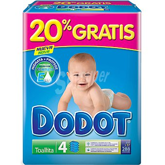 Dodot Toallitas infantiles pack 4 envases 72 unidades (20% gratis ya incluido en el pack) Pack 4 envases 72 unidades