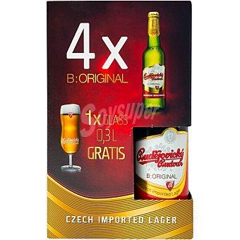 Budejovicky Cerveza rubia checa  estuche 4 botellas de 33 cl