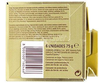 FERRERO ROCHER Bombones crujientes de chocolate con leche y avellanas, con relleno cremoso y avellana entera 75 gramos