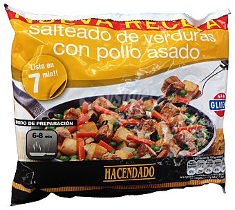 HACENDADO Salteado verduras con pollo ( pechuga pollo,patata,zanahoria,calabacin,guisantes,cebolla) congelado Paquete 450 g