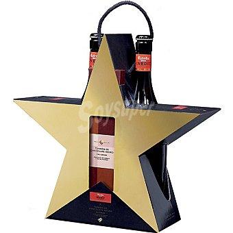 Estrella Damm cerveza rubia nacional extra Inedit + turrón de chocolate negro 70% cacao con malta de cebada y naranja de 200 g estuche 2 botellas 75 cl