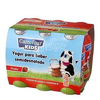 Carrefour Kids Yogur líquido semidesnatado de fresa 6 unidades de 100 g