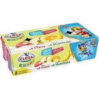 Clesa Yogur de fresa-multifruta crecimiento Pack 8 x 120 g