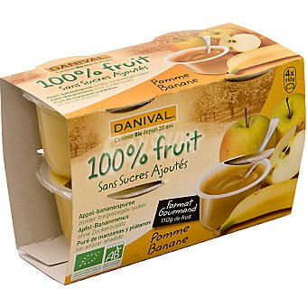 DANIVAL compota de manzana y plátano ecológica envase 440 g pack 4x110g
