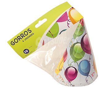 NV CORPORACION Bolsa de 6 gorritos de fiesta, diseño globos Paquete de 6 Unidades