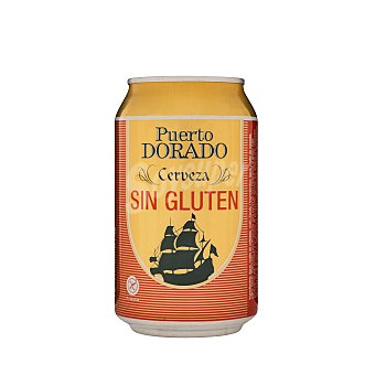 Puerto Dorado Cerveza rubia sin gluten Lata 330 ml