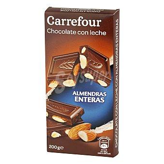 Carrefour Chocolate extrafino con leche y almendras enteras 200 g