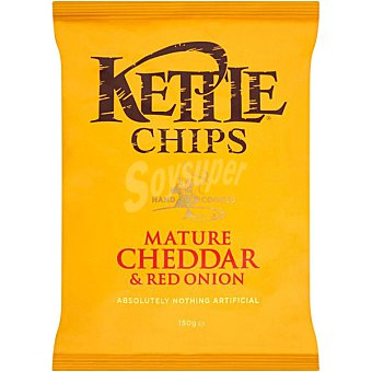 KETTLE Patatas fritas sabor queso cheddar y cebolla roja  bolsa 150 g