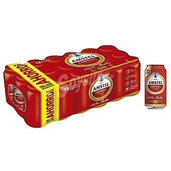 Amstel cerveza rubia nacional  pack 18 latas 37,5 cl