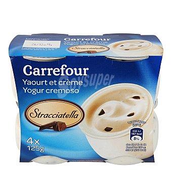 Carrefour Yogur cremoso stracciatella Pack de 4x125 g.