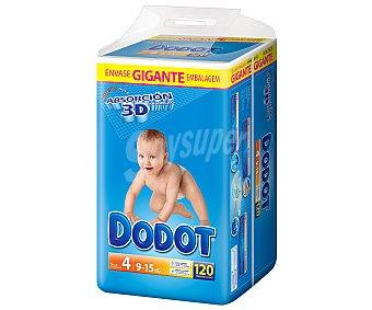 Dodot Pañales Absorción 3D para Niños de 9 a 15 Kilogramos TALLA 4 120 unidades