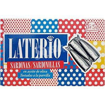 LATERIO Sardinillas en aceite de oliva tostadas a la parrilla 15-25 piezas lata 85 g neto escurrido
