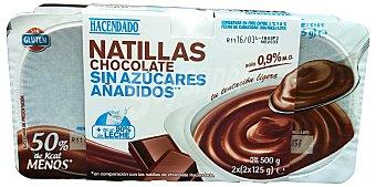 HACENDADO Natillas de chocolate sin azúcar 4 unidades de 125 g (500 g)