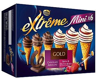 Extrême Nestlé Mini conos surtidos de nata con frutas del bosque (3) o de chocolate absoluto (3) Pack 6 x 60 ml
