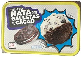Hacendado Helado tarrina nata con galletas al cacao 1 l