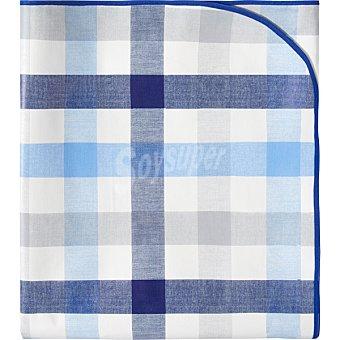 Unit Check mantel de plastico decorado con estampado a cuadros en color azul 140 x 180 cm