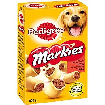 Pedigree MARKIES, deliciosas galletas rellenas de carne para perro Caja 500 g