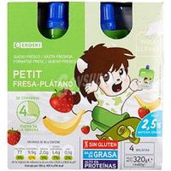 Eroski Petit bolsillo de fresa-platano Pack 4x80 g