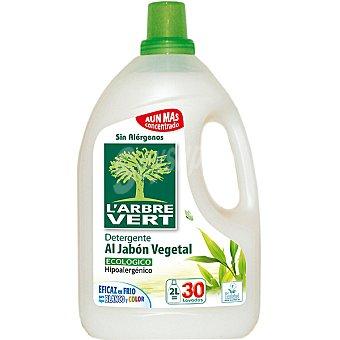 L'ARBRE VERT detergente máquina líquido al Jabón Vegetal ecológico e hipoalergénico botella 2 l 30 lavados