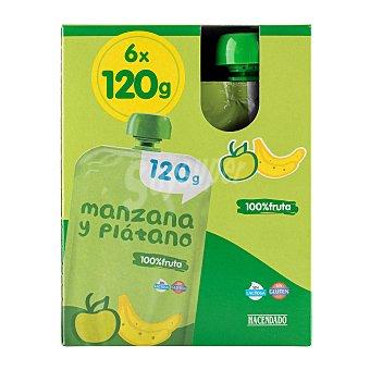 Hacendado Fruta bolsillo manzana y platano 100% fruta (color verde) a partir de 12 meses Pack 6 x 120 g - 720 g