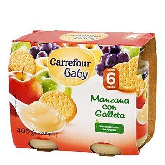 Carrefour Baby Tarrito manzana con galleta Pack 2x200 g