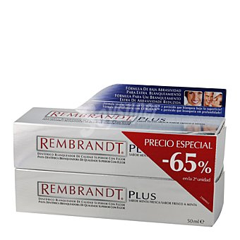Rembrandt Dentifrico blanqueador plus duplo Pack 2x50 ml