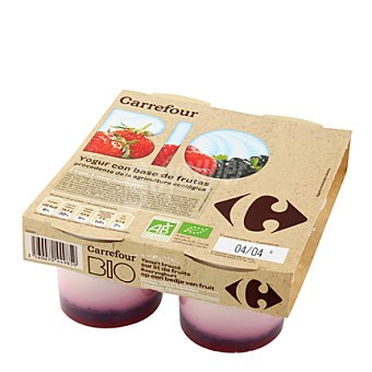 Carrefour Bio Yogur frutas rojas Pack 4x125 g