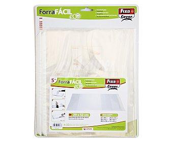 FIXO Lote de 5 forralibros de polipropileno con solapa ajustable, tira adhesiva reposicionable y de 29x52 centímetros 1 unidad