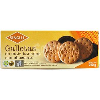 SINGLU Galletas de maíz bañadas con chocolate sin gluten sin lactosa Envase 210 g