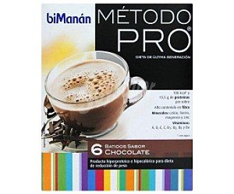BIMANÁN Pro Batidos sabor chocolate, producto hiperproteico e hipocalórico para dieta de reducción de peso bimanán Método Pro 6 Unidades de 30 Gramos 6x30g