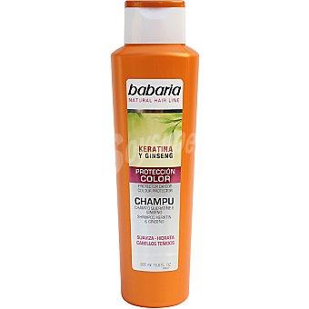 Babaria Champú protección color con keratina y ginseng suaviza e hidrata para cabello teñido Frasco 500 ml