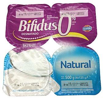 Hacendado Yogur bifidus desnatado natural Pack 4 x 125 g - 500 g