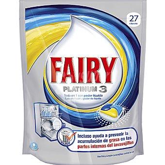 Fairy Detergente lavavajillas Platinum 3 limón todo en 1 con poder líquido Envase 27 pastillas
