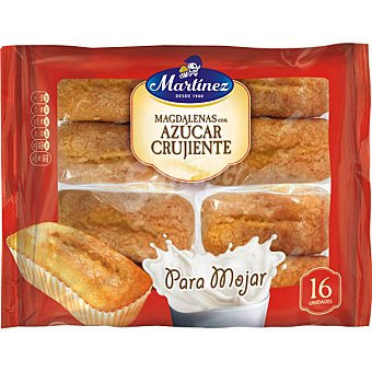 MARTINEZ magdalenas largas con azúcar crujiente para mojar envase 465 g 16 unidades