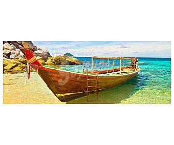 IMAGINE Cuadro con la imagen de un bote de recreo sobre la arena de una maravillosa playa y dimensiones de 30x80 centímetros 1 unidad