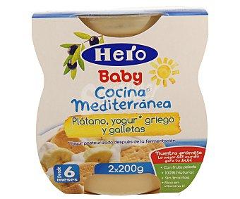 Hero Baby Tarrito de plátano, yogur griego y galletas cocina mediterránea Pack 2 u x 200 g
