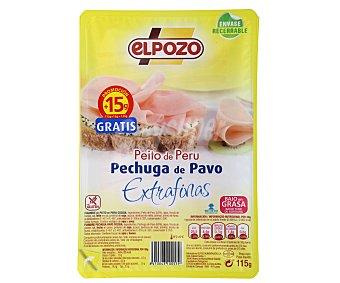 ElPozo Pechuga de pavo con contenido reducido en sal en lonchas extra finas 115 gramos