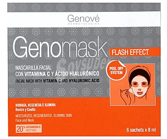 Genomask Mascarilla facial que hidrata, regenera e ilumina rostro y cuello 6 sobres de 8 ml
