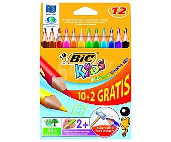 Bic Caja con 12 lápices para colorear, con cuerpo triangular, mina extra dura y hechos de madera reciclada al 50% 1 unidad