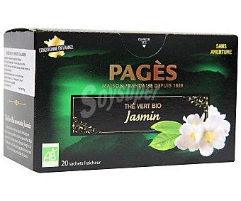 PAGÉS Te verde de cultivo ecológico con jazmín 20 sobres de 1,5 gramos