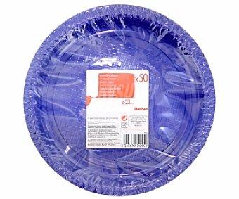AUCHAN Platos azules 22cm 50 Unidades