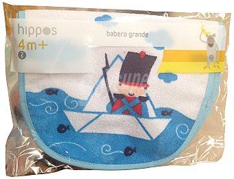 HIPPOS Babero bebe grande azul Paquete de 2 uds