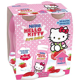 Hello Kitty Yogur para beber sabor fresa Pack 4 unidades 90 g