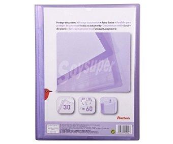 Auchan Carpeta con 60 fundas de tamaño folio, de color morado y con tapa personalizable auchan 30 fundas